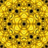 Caleidoscopio floreale dorato nella forma di mandala del sole dell'oro, frattale geometrico Fotografie Stock