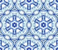 Caleidoscopisch Lichtblauw Bloemornament Stock Fotografie