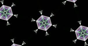 Caleidoscopisch Patroon op Donkere Achtergrond in Trillende Kleuren royalty-vrije illustratie