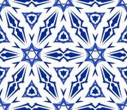 Caleidoscopisch Wit Blauw Bloemornament Stock Afbeelding