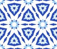 Caleidoscopisch Wit Blauw Bloempatroon Stock Fotografie