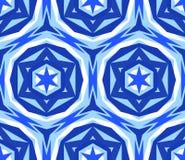 Caleidoscopische Naadloze Patroon Blauwe Ster Stock Foto's