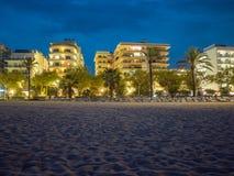 Calella de Palafrugell nattlandskap i Costa Brava, Spanien arkivbild