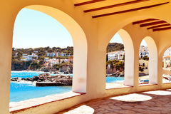 Calella de Palafrugell, Spain. A view of the the Barques Beach and the coast of Calella de Palafrugell, in the Costa Brava, Catalonia, Spain, seen through the Stock Images