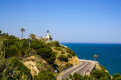 Calella ist ein beliebtes Erholungsort auf der spanischen K?ste ein die Stunde, die durch Zug von Barcelona entfernt ist stockbilder