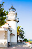 Calella Lighthouse is active lighthouse situated in coastal town of Calella in Costa del Maresme, Catalonia, Spain Royalty Free Stock Photography