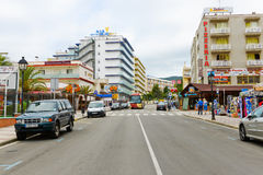Street of Calella on September 20, 2012. Calella accommodates an Royalty Free Stock Photo