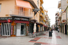 Street of Calella on September 16, 2012. Calella accommodates an Stock Images