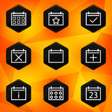 Calenadar. Hexagonal icons set on abstract orange  Royalty Free Stock Photos