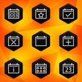Calenadar. Hexagonale die pictogrammen op abstracte sinaasappel worden geplaatst  Royalty-vrije Stock Foto's