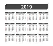 calendário 2019 Imagem de Stock Royalty Free