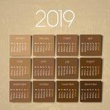 calendário 2019 ilustração royalty free
