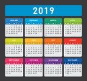 Calendário 2019 imagem de stock