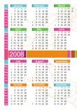 calendário 2008 colorido ilustração royalty free