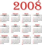 Calendário 2008 do vetor. ilustração stock