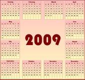 Calendário 2009 Imagem de Stock Royalty Free
