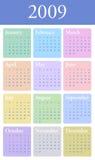 calendário 2009 anual no pastel Imagens de Stock