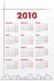 Calendário 2010 com casas ilustração do vetor