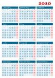 Calendário 2010 duas cores ilustração royalty free