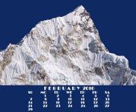 Calendário 2010. Partes superiores de Himalaya. Fevereiro. Nupse 7864m Fotografia de Stock Royalty Free
