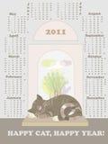 Calendário 2011, ano de gato ilustração do vetor