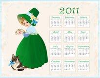 calendário 2011 com gato e menina ilustração stock