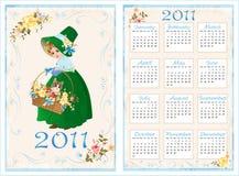 calendário 2011 do bolso. 70 x105 milímetro ilustração royalty free