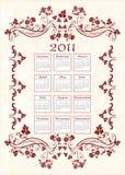 Calendário 2011 do vintage ilustração stock