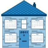 Calendário 2011 em uma casa azul Fotografia de Stock Royalty Free