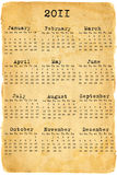 Calendário 2011 no papel velho Imagens de Stock