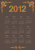 Calendário 2012 Foto de Stock Royalty Free