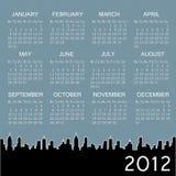 calendário 2012 com a cidade no fundo Fotografia de Stock