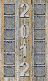 calendário 2012 sobre pranchas de madeira velhas Imagens de Stock Royalty Free