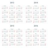 Calendário 2013, 2014, 2015, 2016 Imagem de Stock