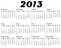 Calendário 2013 Foto de Stock