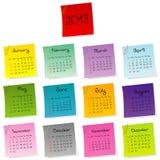 calendário 2013 feito do jogo colorido do post-it Imagens de Stock Royalty Free