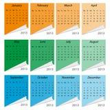Calendário 2013, inglês Imagens de Stock