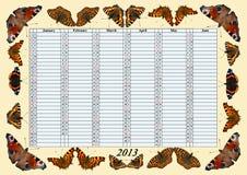 Calendário 2013 janeiro - junho com borboletas Fotos de Stock