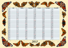 Calendário 2013 julho - dezembro com borboletas Fotos de Stock Royalty Free