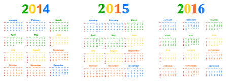 2014-2016 calendário Fotos de Stock Royalty Free