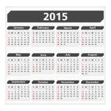 Calendário 2015 Imagem de Stock Royalty Free