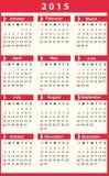 Calendário 2015 Fotografia de Stock