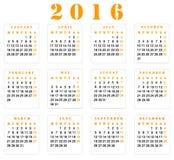 Calendário 2016 Imagens de Stock