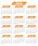 calendário 2016 Foto de Stock