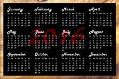 Calendário 2016 Fotografia de Stock Royalty Free