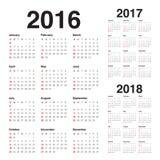 Calendário 2016 2017 2018 Imagem de Stock