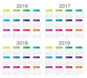 Calendário 2016 2017 2018 2019 Ilustração Royalty Free