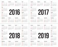 Calendário 2016 2017 2018 2019 Ilustração Stock