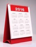 Calendário 2016 Foto de Stock Royalty Free