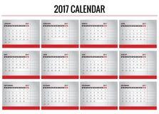 Calendário 2017 Fotos de Stock Royalty Free